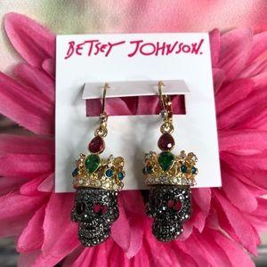 Betsey Johnson Dark Magic Crowned Skull Earrings